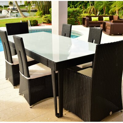 Diamond 7 Piece Dining Set Base Finish/Top Finish: Black Diamond/White