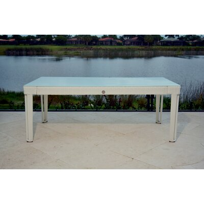 Diamond Rectangular Wicker Dining Table Base Finish/Top Finish: White Diamond/White