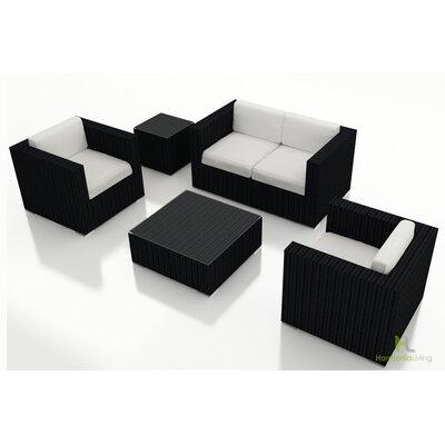 Urbana 4 Piece Deep Seating Group with Cushion Finish: Coffee Bean, Fabric: Canvas Natural