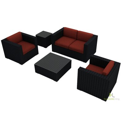 Eichhorn 4 Piece Wicker Deep Seating Group with Cushion Finish: Coffee Bean, Fabric: Canvas Henna