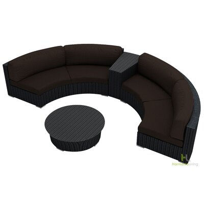 Eichhorn 4 Piece Deep Seating Group with Cushion Finish: Coffee Bean, Fabric: Spectrum Coffee