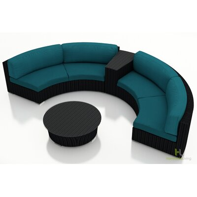 Eichhorn 4 Piece Deep Seating Group with Cushion Finish: Coffee Bean, Fabric: Spectrum Peacock