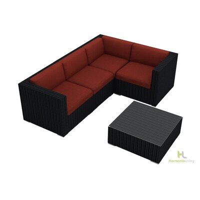 Eichhorn 5 Piece Wicker Deep Seating Group with Cushion Finish: Coffee Bean, Fabric: Canvas Henna