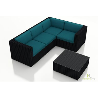 Eichhorn 5 Piece Wicker Deep Seating Group with Cushion Finish: Coffee Bean, Fabric: Spectrum Peacock