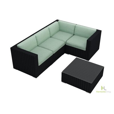 Eichhorn 5 Piece Wicker Deep Seating Group with Cushion Finish: Coffee Bean, Fabric: Canvas Spa