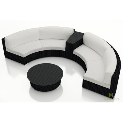 Eichhorn 4 Piece Deep Seating Group with Cushion Finish: Coffee Bean, Fabric: Canvas Natural