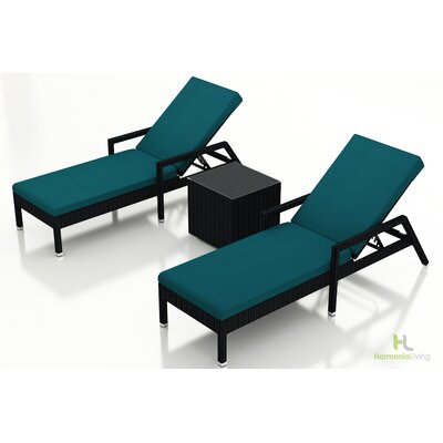 Eichhorn 3 Piece Lounge Seating Group with Cushion Fabric: Spectrum Peacock, Finish: Coffee Bean