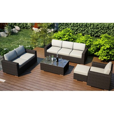 Arden 5 Piece Lounge Seating Group with Cushion Fabric: Canvas Natural