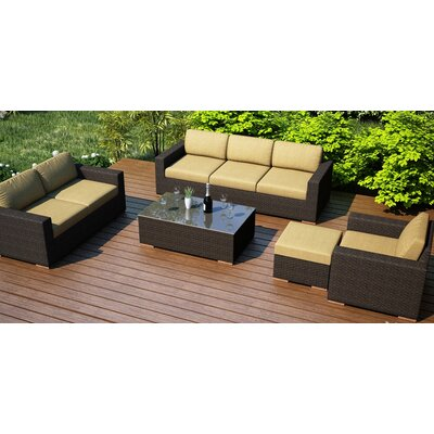 Arden 5 Piece Lounge Seating Group with Cushion Fabric: Heather Beige
