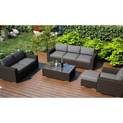 Arden 5 Piece Lounge Seating Group with Cushion Fabric: Canvas Charcoal