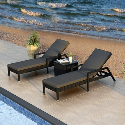 Urbana 3 Piece Lounge Seating Group with Cushion Fabric: Canvas Charcoal, Finish: Coffee Bean
