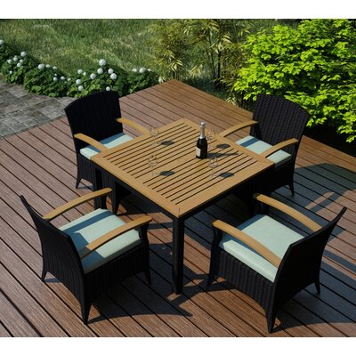 Garlyn 5 Piece Wicker Dining Set with Cushion Fabric: Canvas Spa