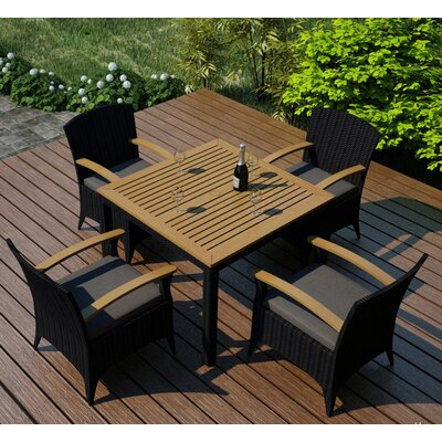 Garlyn 5 Piece Wicker Dining Set with Cushion Fabric: Canvas Charcoal