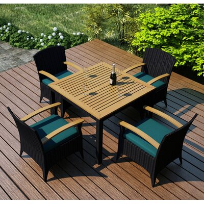 Arbor 5 Piece Dining Set with Cushion Fabric: Spectrum Peacock