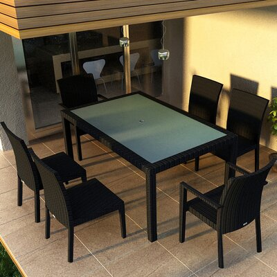 Eichhorn 7 Piece Wicker Dining Set Finish: Coffee Bean
