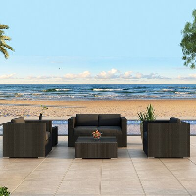 Eichhorn 4 Piece Wicker Deep Seating Group with Cushion Fabric: Canvas Charcoal, Finish: Coffee Bean