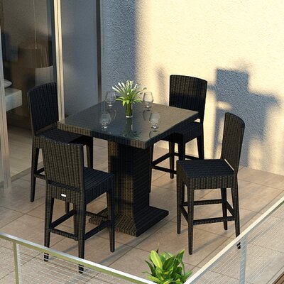 Eichhorn Contemporary 5 Piece Wicker Bar Set Finish: Coffee Bean