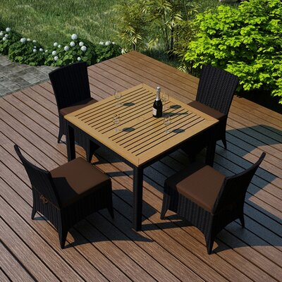 Arbor 5 Piece Dining Set with  Cushion Fabric: Spectrum Coffee