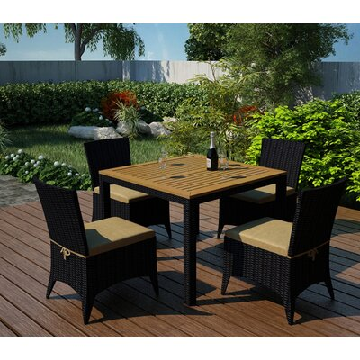 Arbor 5 Piece Dining Set with  Cushion Fabric: Heather Beige