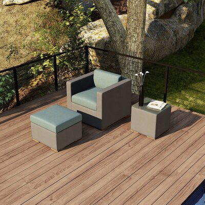 Element 3 Piece Deep Seating Group with Cushion Fabric: Canvas Spa