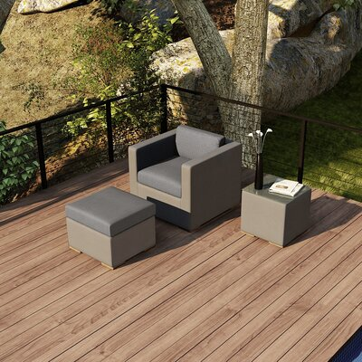 Element 3 Piece Deep Seating Group with Cushion Fabric: Canvas Charcoal