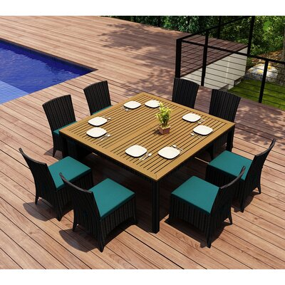 Garlyn 9 Piece Dining Set with Cushion Fabric: Spectrum Peacock