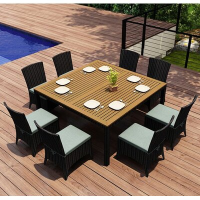 Arbor 9 Piece Dining Set with Cushion Fabric: Canvas Spa