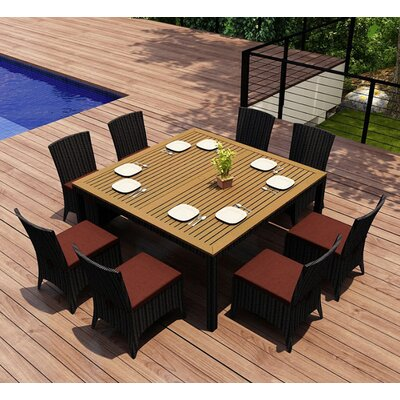 Garlyn 9 Piece Dining Set with Cushion Fabric: Canvas Henna