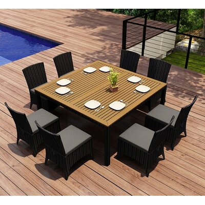 Garlyn 9 Piece Dining Set with Cushion Fabric: Canvas Charcoal