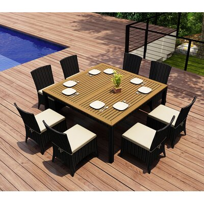 Garlyn 9 Piece Dining Set with Cushion Fabric: Canvas Natural