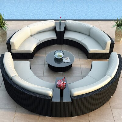 Urbana 7 Piece Eclipse Deep Seating Group with Cushion Finish: Coffee Bean, Fabric: Canvas Natural