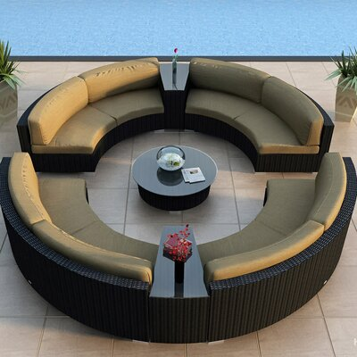 Urbana 7 Piece Eclipse Deep Seating Group with Cushion Finish: Coffee Bean, Fabric: Heather Beige