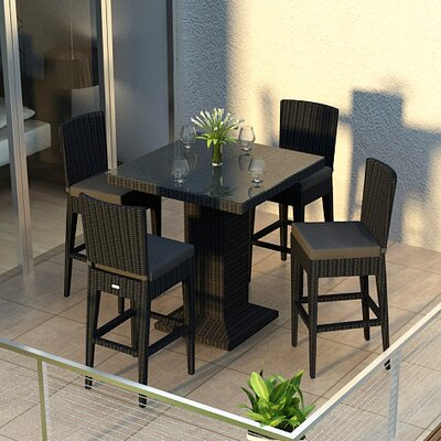 Eichhorn Contemporary 5 Piece Bar Set Finish: Coffee Bean, Fabric: Canvas Spa