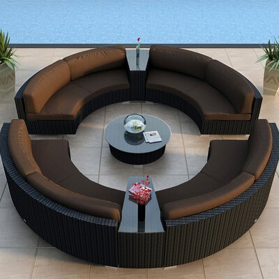 Urbana 7 Piece Eclipse Deep Seating Group with Cushion Finish: Coffee Bean, Fabric: Spectrum Coffee