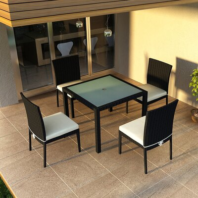 Eichhorn 5 Piece Dining Set with Cushion Fabric: Canvas Natural, Finish: Coffee Bean