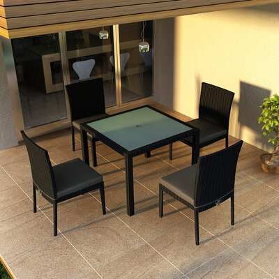 Eichhorn 5 Piece Dining Set with Cushion Fabric: Canvas Charcoal, Finish: Coffee Bean
