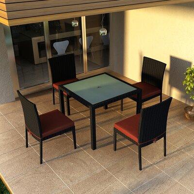 Eichhorn 5 Piece Dining Set with Cushion Fabric: Canvas Henna, Finish: Coffee Bean
