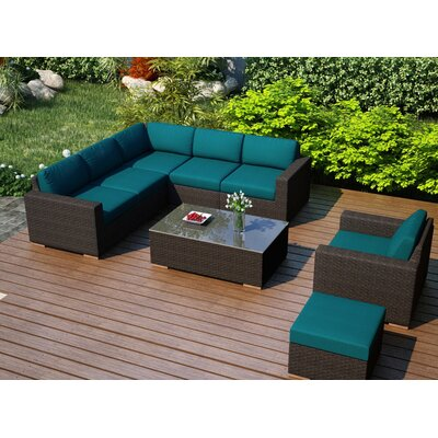 Arden 8 Piece Lounge Seating Group with Cushion Fabric: Spectrum Peacock