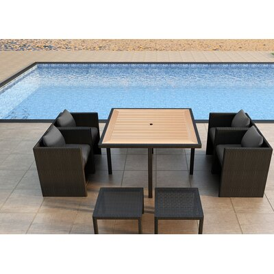 Arbor 9 Piece Cube Dining Set with Cushion Color: Canvas Charcoal