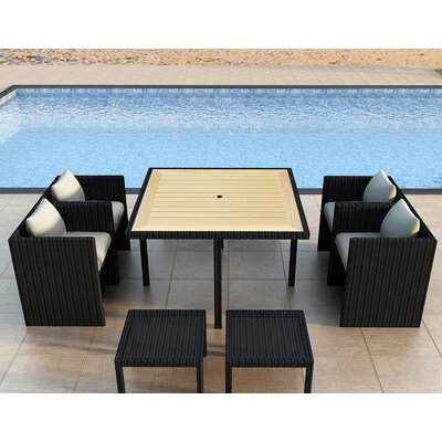 Arbor 9 Piece Cube Dining Set with Cushion Color: Canvas Natural