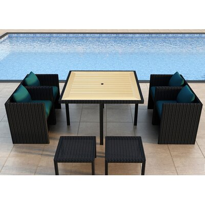 Arbor 9 Piece Cube Dining Set with Cushion Color: Spectrum Peacock