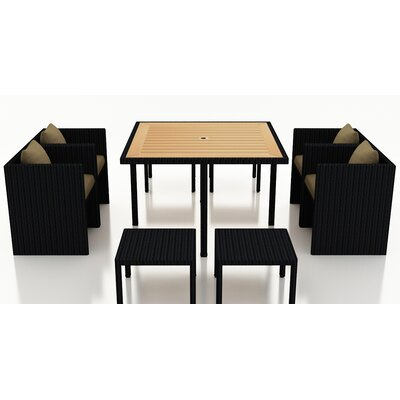 Arbor 9 Piece Cube Dining Set with Cushion Cushion Color: Heather Beige