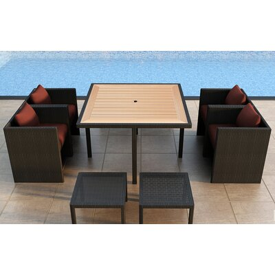 Arbor 9 Piece Cube Dining Set with Cushion Color: Canvas Henna