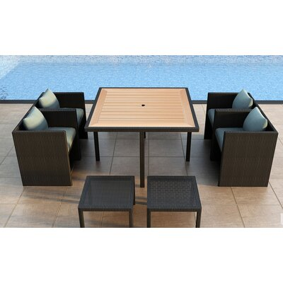 Arbor 9 Piece Cube Dining Set with Cushion Color: Canvas Spa