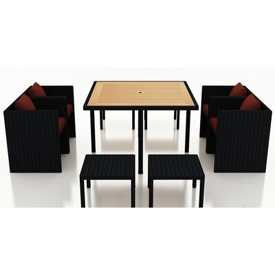 Arbor 9 Piece Cube Dining Set with Cushion Cushion Color: Canvas Henna