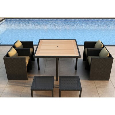 Arbor 9 Piece Cube Dining Set with Cushion Color: Heather Beige