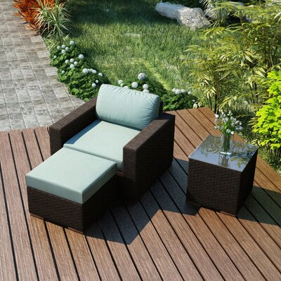 Arden 3 Piece Deep Seating Group with Cushion Fabric: Canvas Spa