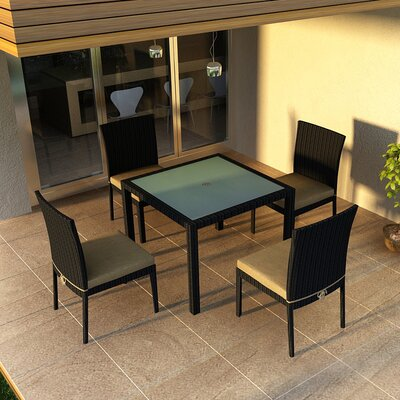 Eichhorn 5 Piece Dining Set with Cushion Fabric: Heather Beige, Finish: Coffee Bean