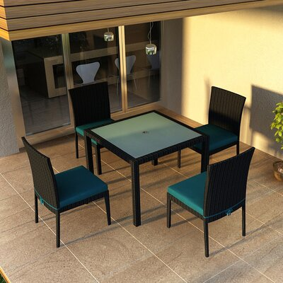 Eichhorn 5 Piece Dining Set with Cushion Fabric: Spectrum Peacock, Finish: Coffee Bean