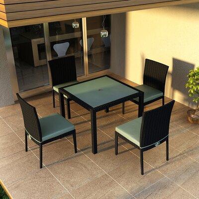Eichhorn 5 Piece Dining Set with Cushion Finish: Coffee Bean, Fabric: Canvas Spa